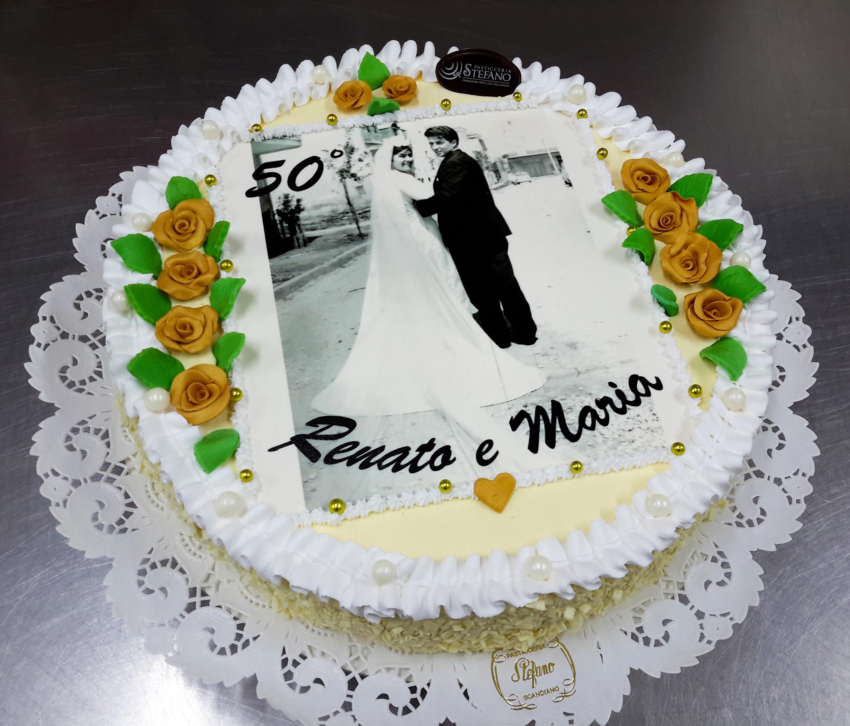 Torte Anniversario Di Matrimonio Pasta Di Zucchero.Torta 50 Pasticceria Stefano